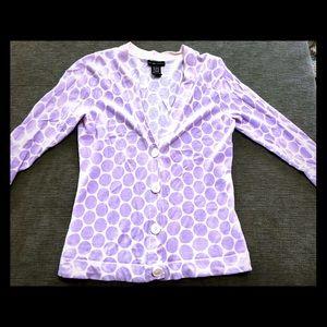 new york & company Cardigan Polka Dot purple white